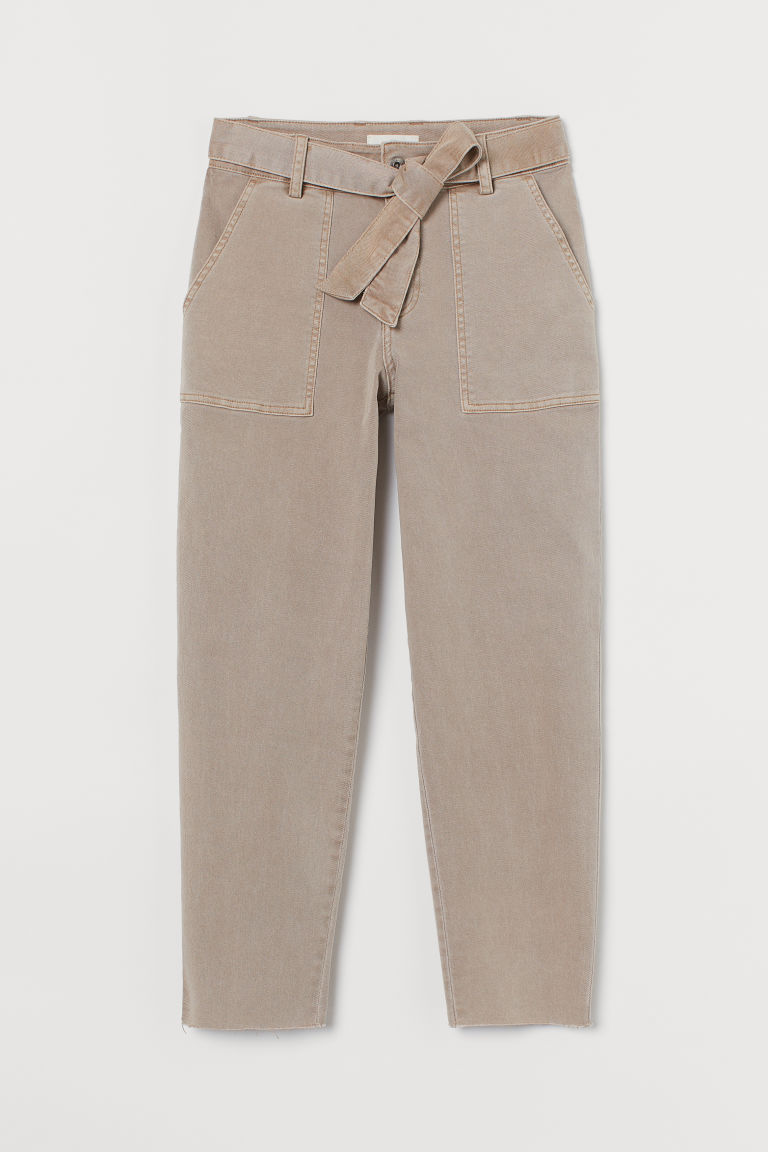 H & M - 綁帶斜紋長褲 - 褐色
