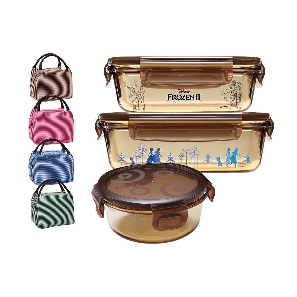 康寧密扣 冰雪奇緣聯名玻璃保鮮盒3件組 贈保溫提袋【蝦皮團購】