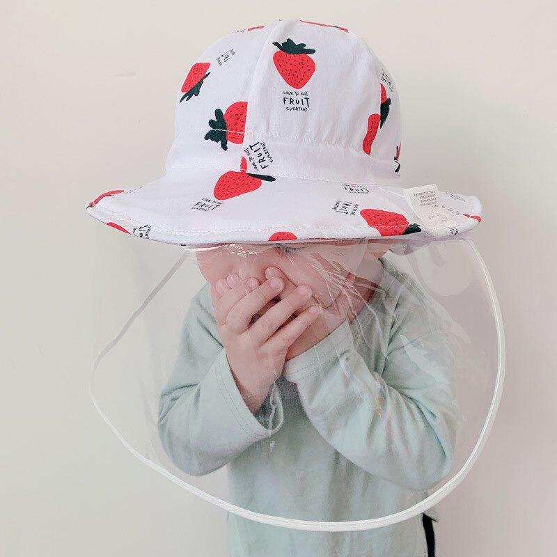 嬰兒帽子春秋薄款防飛沫帽子女寶寶防護帽兒童面罩遮臉防疫帽漁夫