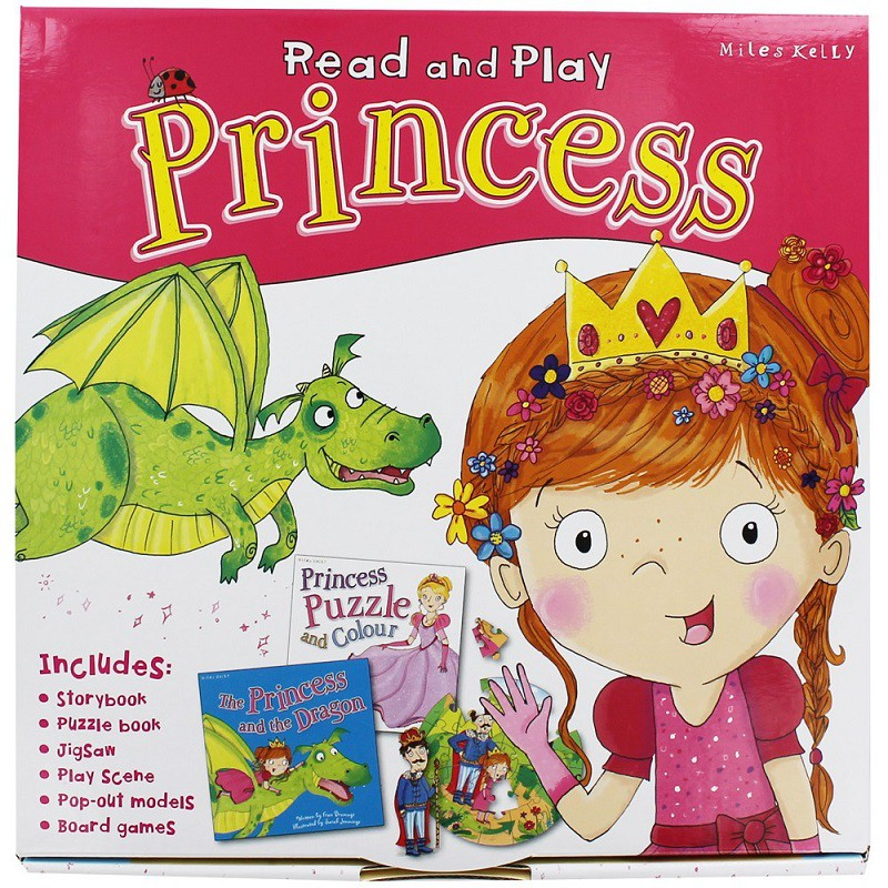英文童書 Read and Play - Princess (兒童-遊戲書) (桌遊、拼圖、著色本、手做勞作) 全新