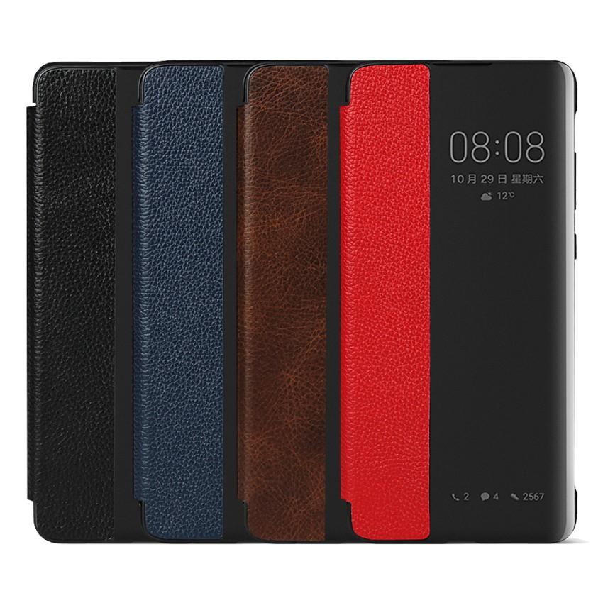 Huawei P30 Pro 皮革保護套真皮來電顯示透視視窗皮套翻蓋保護套