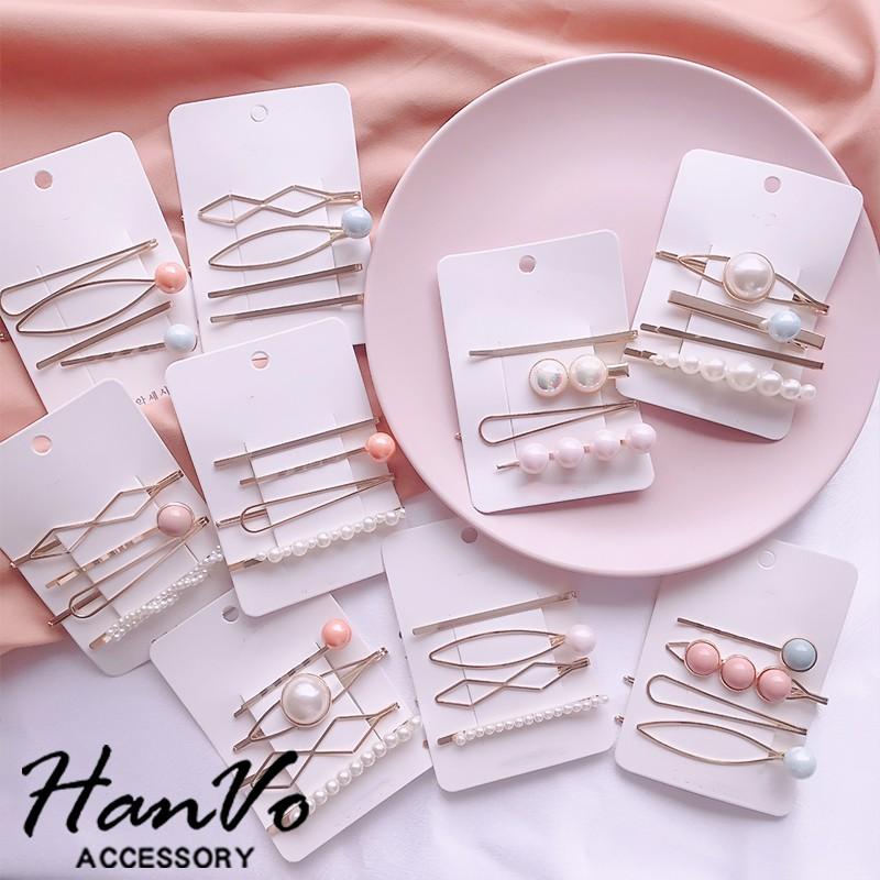 【HanVo】粉色系珍珠髮夾四件組 韓版現貨髮圈髮飾金屬日系氣質甜美可愛一字髮夾 8030