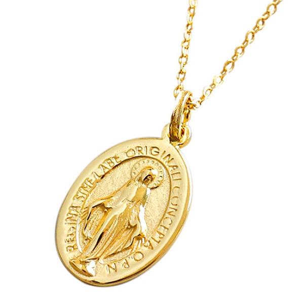 《 QBOX 》FASHION 飾品【CXA142】精緻個性復古金色聖母瑪利亞頭像S925純銀項鍊/泰銀吊墜