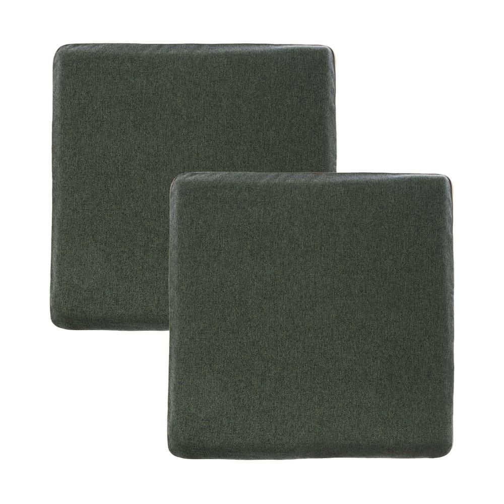 HOLA 素色雅織滾邊記憶棉坐墊40x40x4墨綠2入