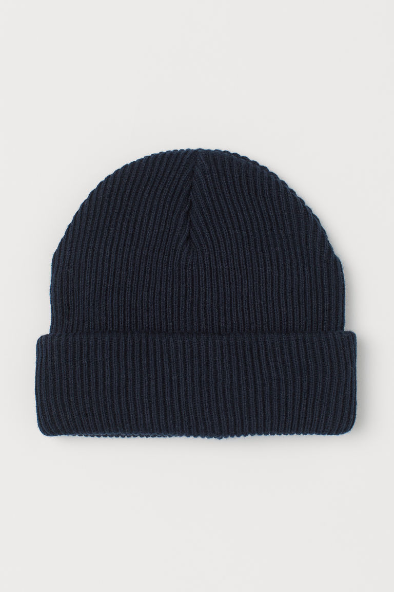 H & M - 棉質羅紋針織帽 - 藍色