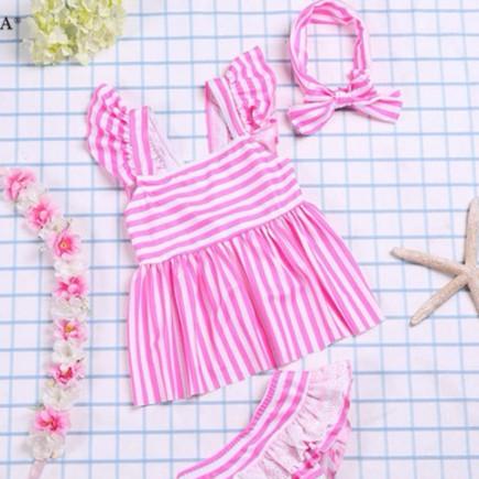 母嬰 新款韓版童裝 兒童泳衣 甜美條文分體泳衣 公主泳衣 兒童兩截式分體泳衣套裝母婴