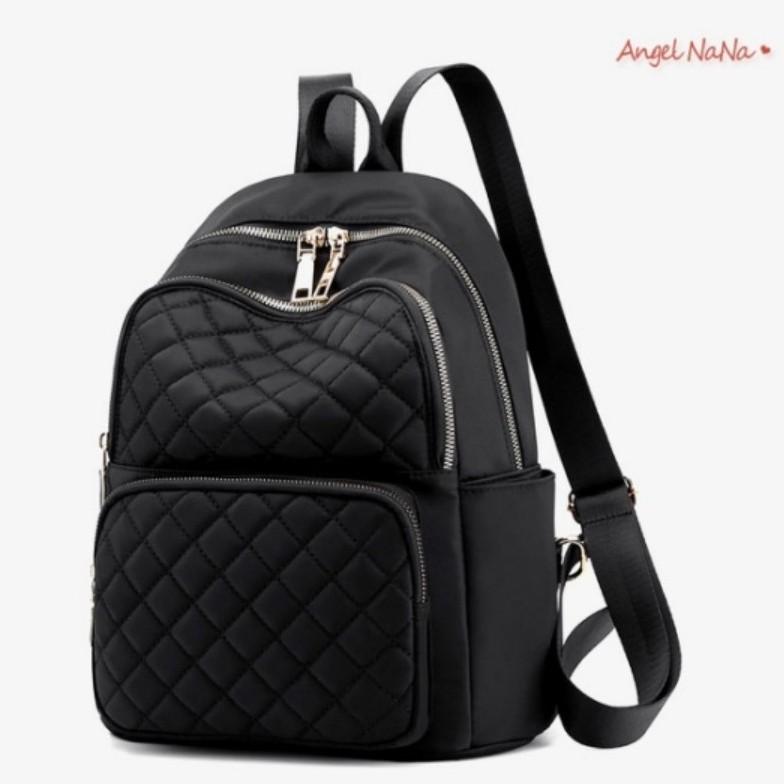 【AngelNaNa】後背包-超輕量菱格防潑水尼龍雙肩包(中大) (SBA0364)