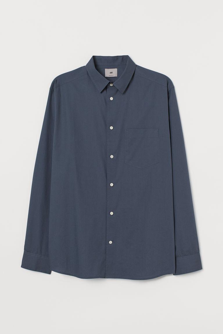 H & M - 優質棉襯衫 - 藍色