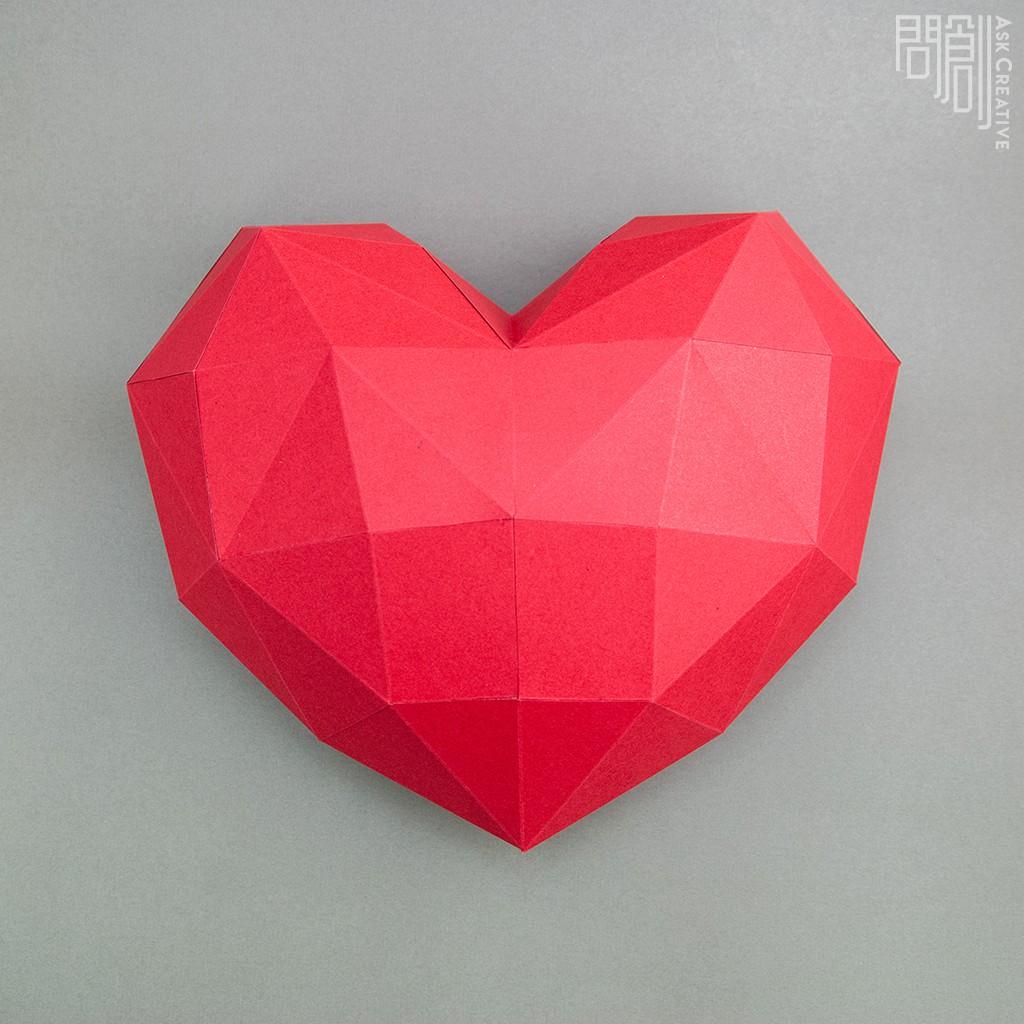 問創設計 DIY手作3D紙模型 禮物 掛飾 節慶系列 - 小愛心壁飾