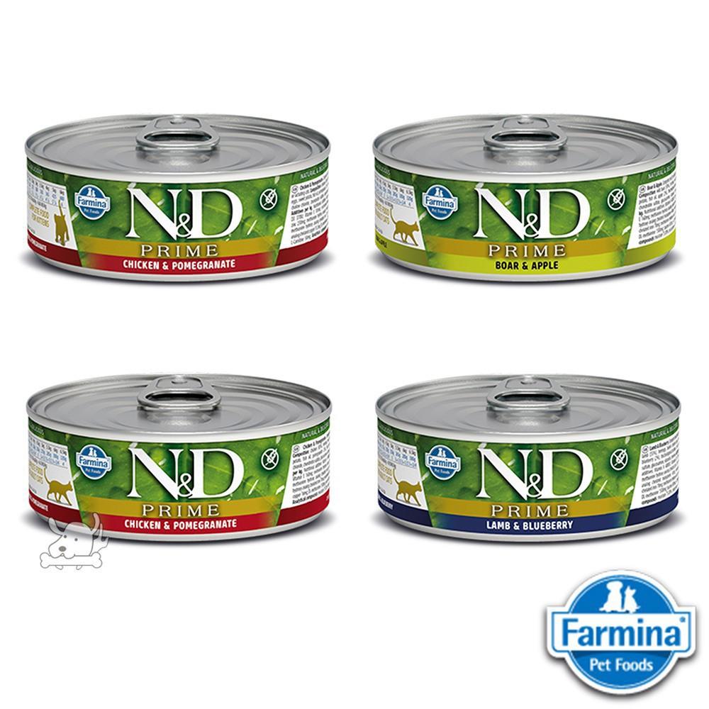 義大利N&D法米納FARMINA 貓用主食罐 無穀低碳水貓罐 貓濕食 80克