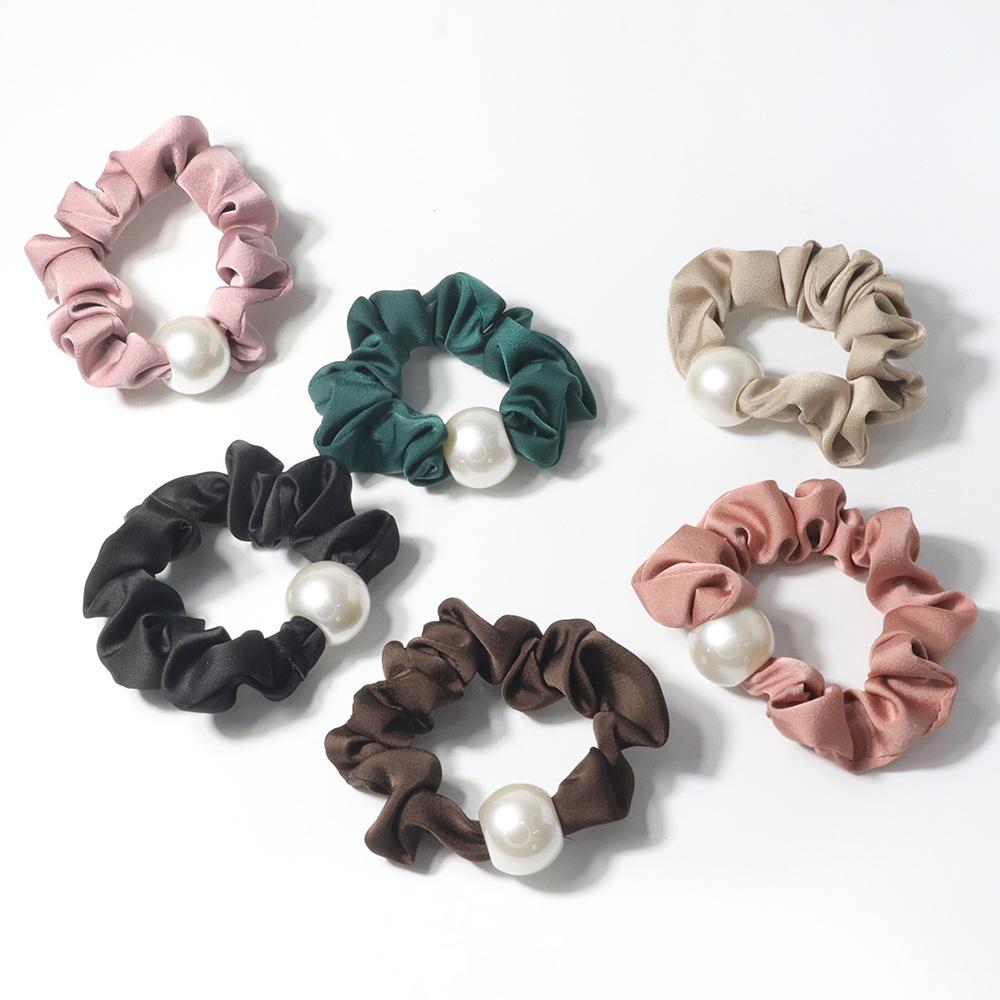 [日韓流行髮飾]素色純白珍珠大腸髮圈 6色 HR20045