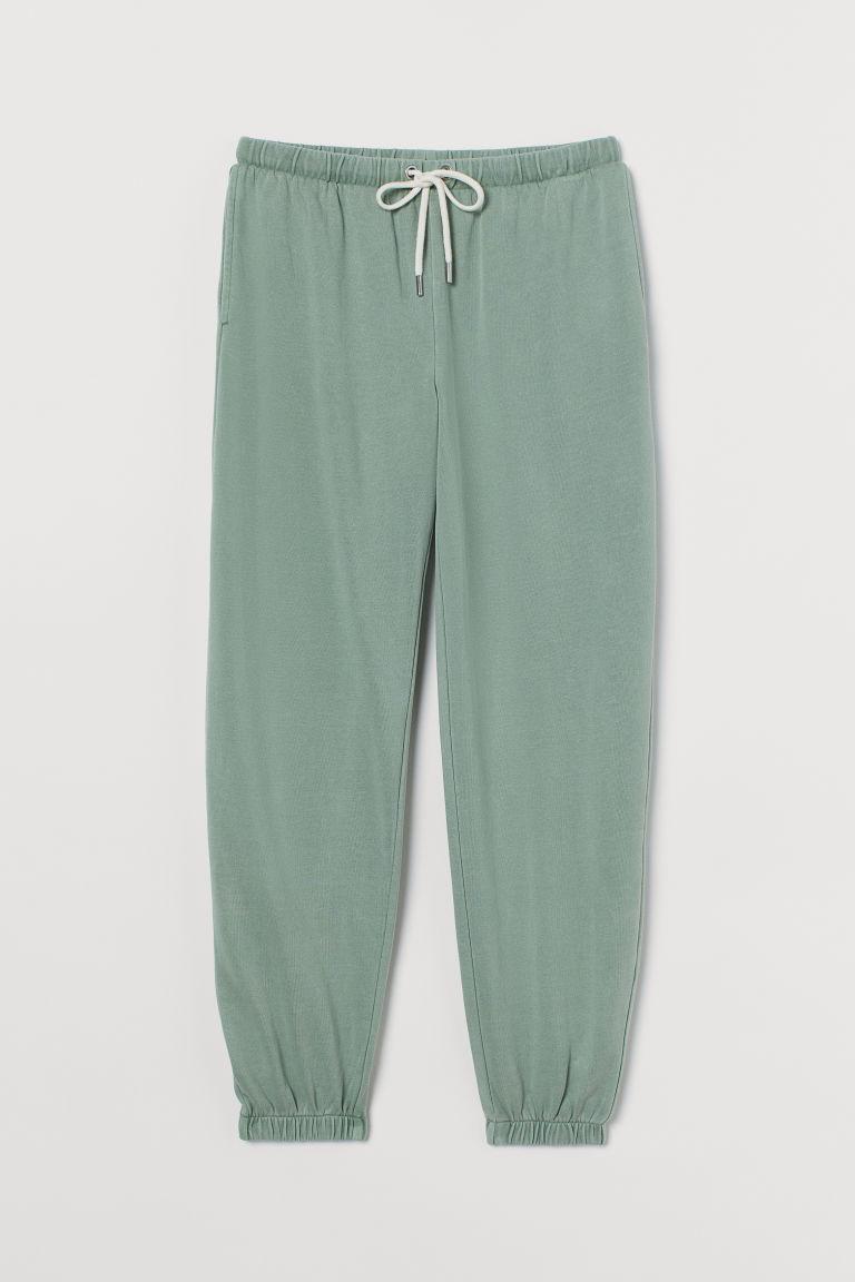 H & M - 棉質混紡慢跑褲 - 綠色