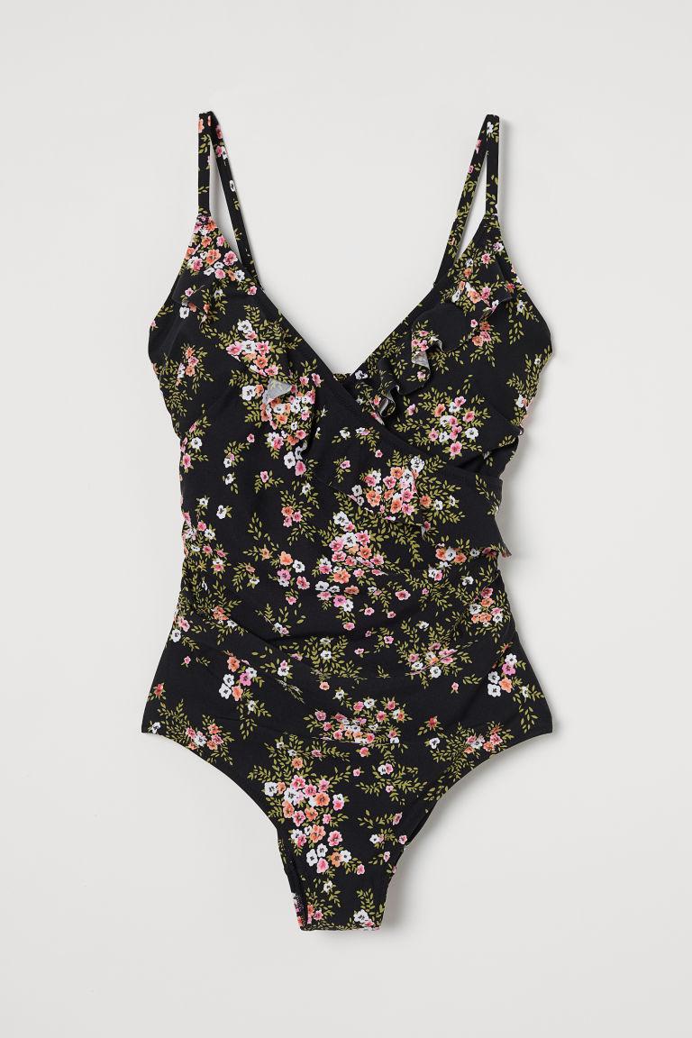 H & M - 荷葉邊塑身連身泳裝 - 黑色