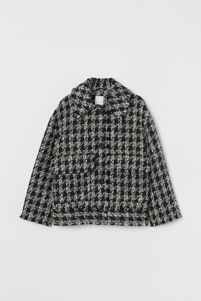 H & M - 紋理感平織外套 - 黑色