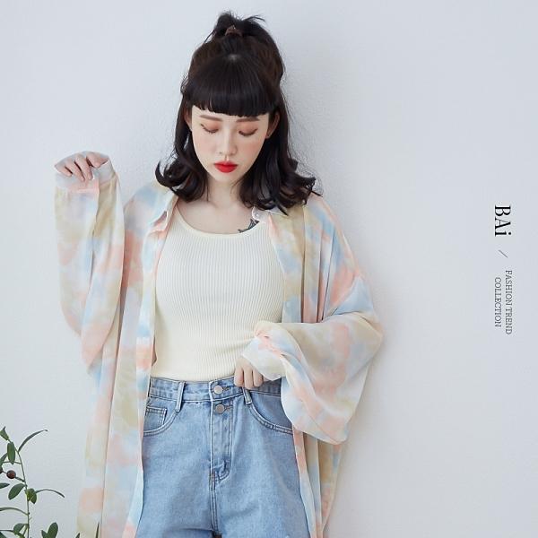 棉花糖色暈染彩雲透肌感寬鬆襯衫-BAi白媽媽【310513】