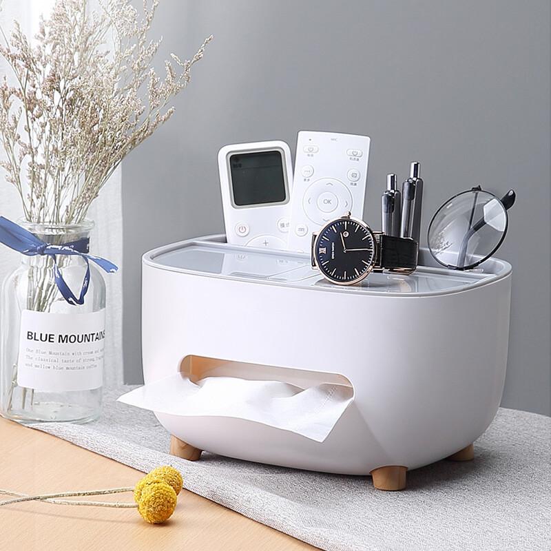文青風 桌面多功能收納面紙盒+手機支架/衛生紙盒/紙巾盒/置物架
