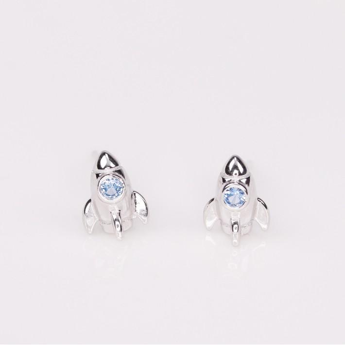 探索火箭全純銀貼耳耳環(單色)