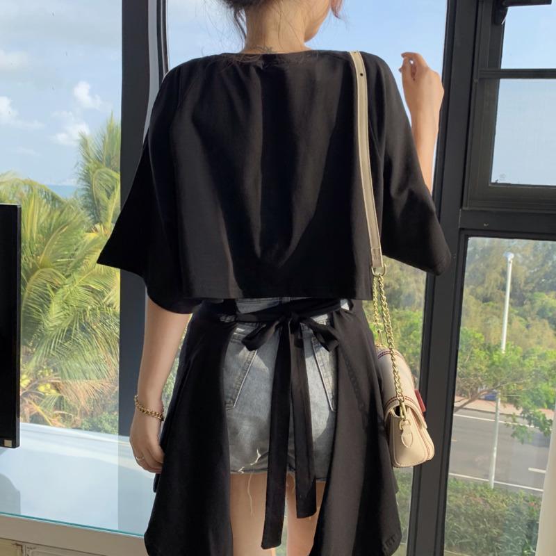 中長款短袖t恤 女生衣著素面露肩設計感小眾扭結上衣 洋氣百搭寬鬆顯瘦後背系帶韓版圓領套頭上衣