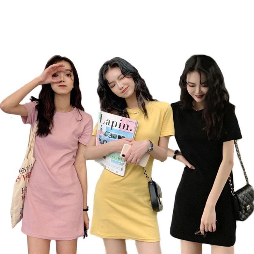閨蜜裝短袖洋裝 韓版短袖長版T恤裙子仙女森系  短版洋裝  連身洋裝 顯瘦 素面 洋裝