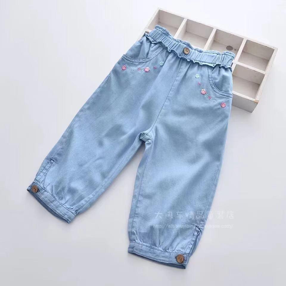 2021新款夏季新款花朵刺繡女童松緊腰牛仔七分褲