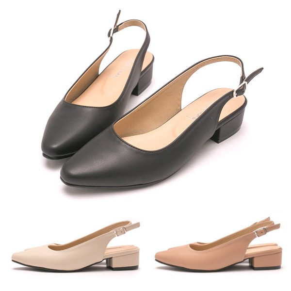 【白鳥麗子】低跟鞋 MIT經典素面氣質後簍空包鞋