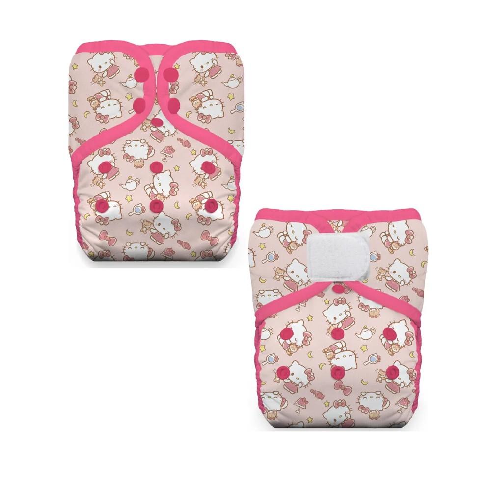 美國 Thirsties 成長型口袋式布尿布-Hello Kitty(壓扣式/魔鬼氈)