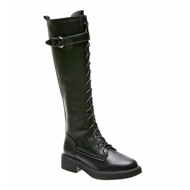 新品-長筒靴女不過膝2020年新款秋季時裝靴百搭側拉鏈騎士靴高筒長靴女