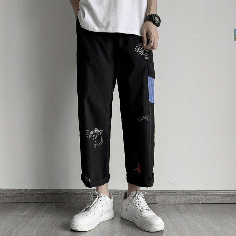 日系工裝褲子男韓版潮流春秋九分褲夏季薄款寬鬆直筒潮牌休閒長褲