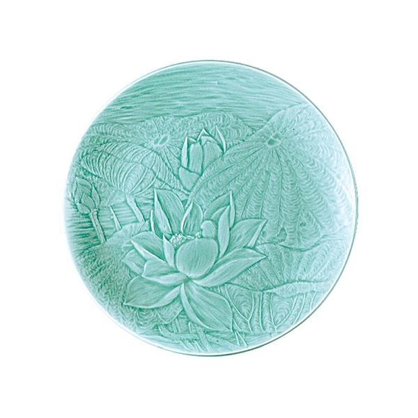 安達窯 青瓷 雕花圓盤-10吋