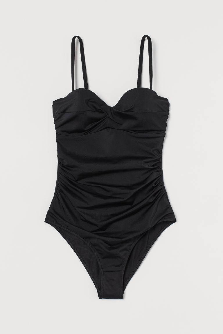 H & M - 塑身連身泳裝 - 黑色