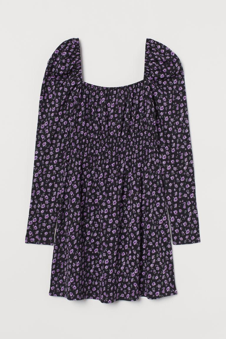 H & M - 公主袖短洋裝 - 黑色