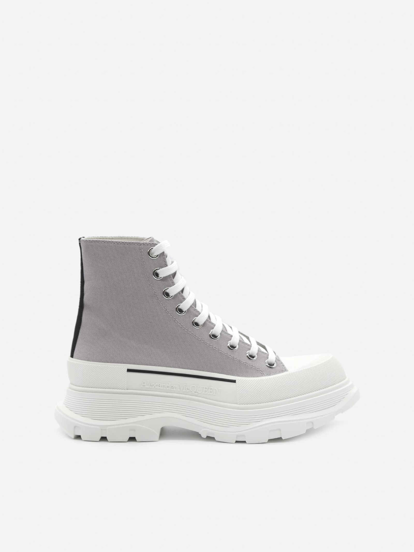 Alexander McQueen Tread Slick Ankle Boots In Cotton Canvas