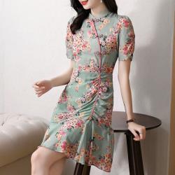 REKO-甜美復古少女碎花魚尾旗袍短洋裝S-3XL