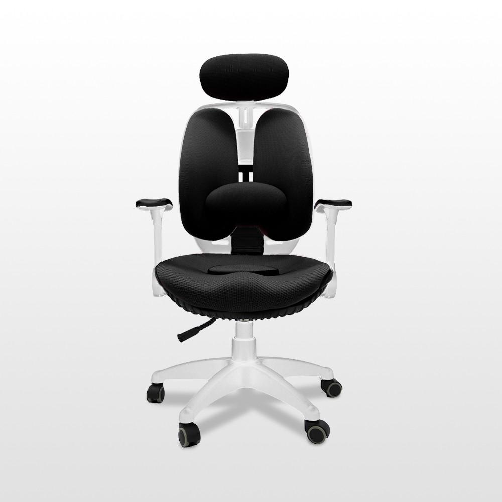百貨專櫃展示品出清|韓國原裝Grandeur white雙背透氣坐墊人體工學椅 黑|下殺75折|限量1組