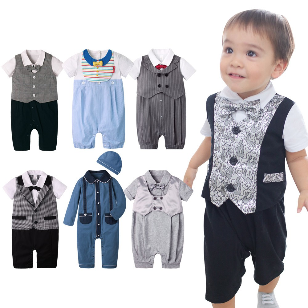augelute baby童衣短袖連身衣 假三件 學院風 紳士造型 爬服 哈衣 男寶寶 小紳士 小花童 60181