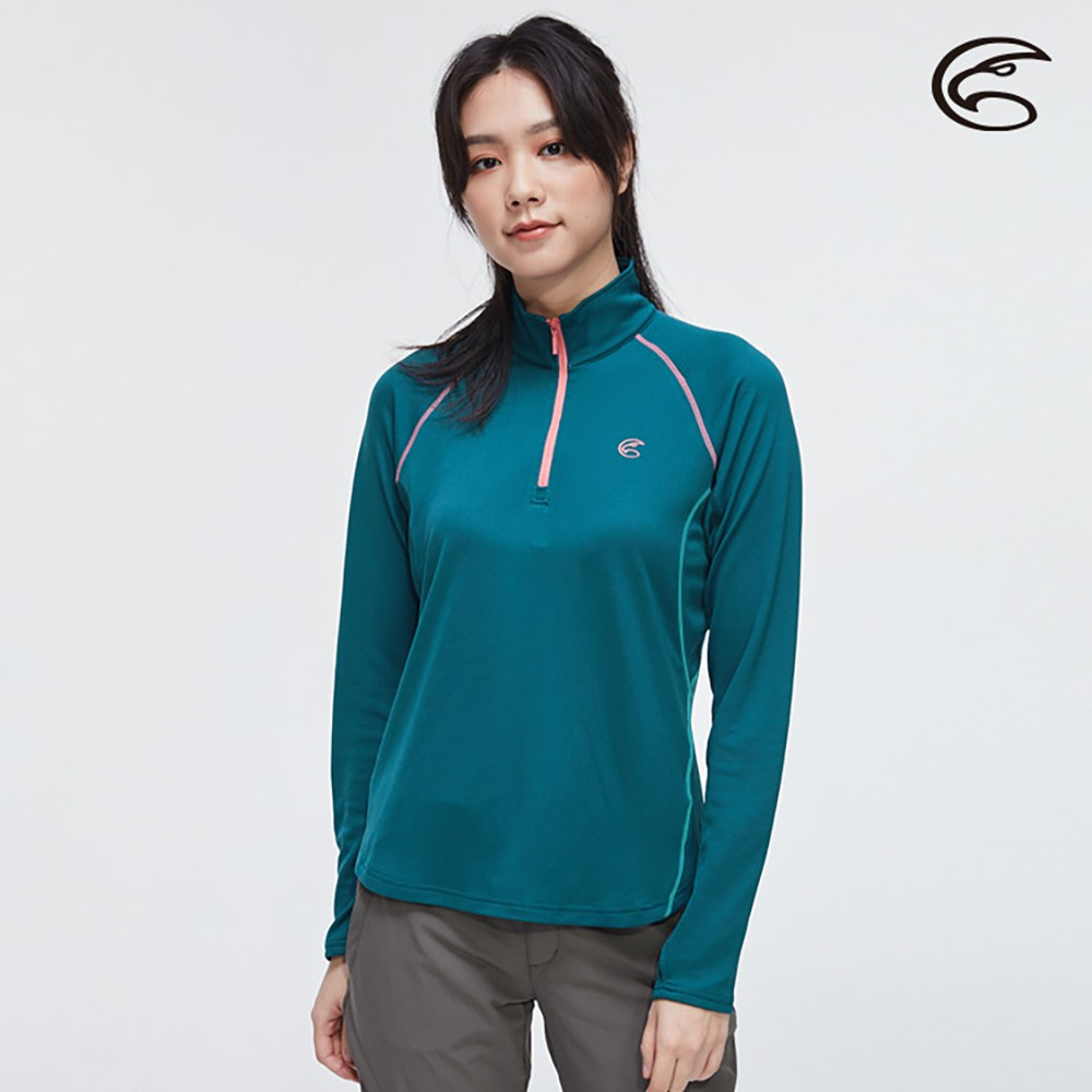 ADISI 女半門襟涼感智能纖維速乾長袖上衣AL2011059 (S-2XL)【墨藍】快乾 排汗 單向導濕