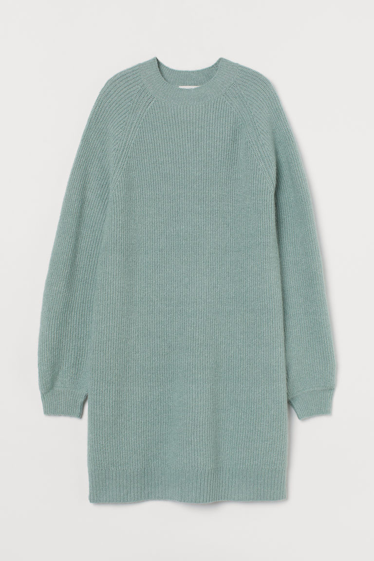 H & M - 羅紋針織洋裝 - 綠色