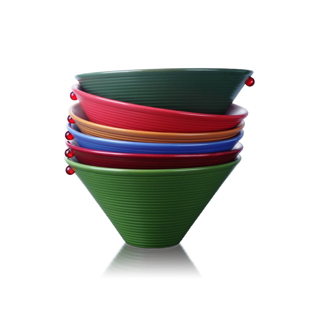 《琉璃工房 LIULI LIVING   天天都是星期天》彩色碗 六件組 餐碗禮盒琉璃珠 啞光 陶瓷碗笠形碗