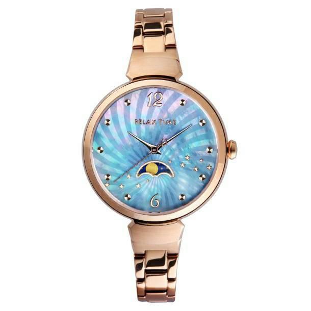 RELAX TIME 月亮女神系列腕錶 ─ 優雅藍x玫瑰金(RT-69-2)麗寶錶樂園