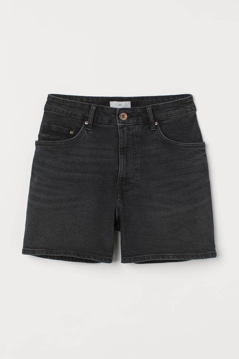 H & M - 高腰丹寧短褲 - 黑色