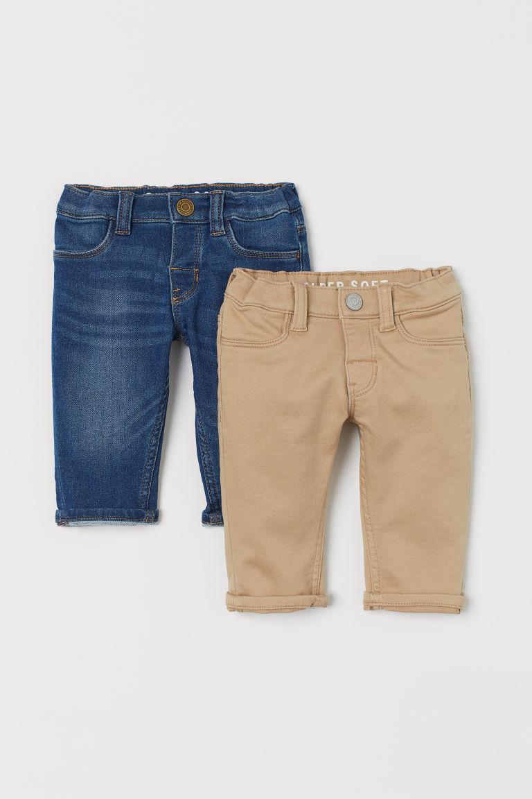 H & M - 2件入特柔長褲 - 米黃色