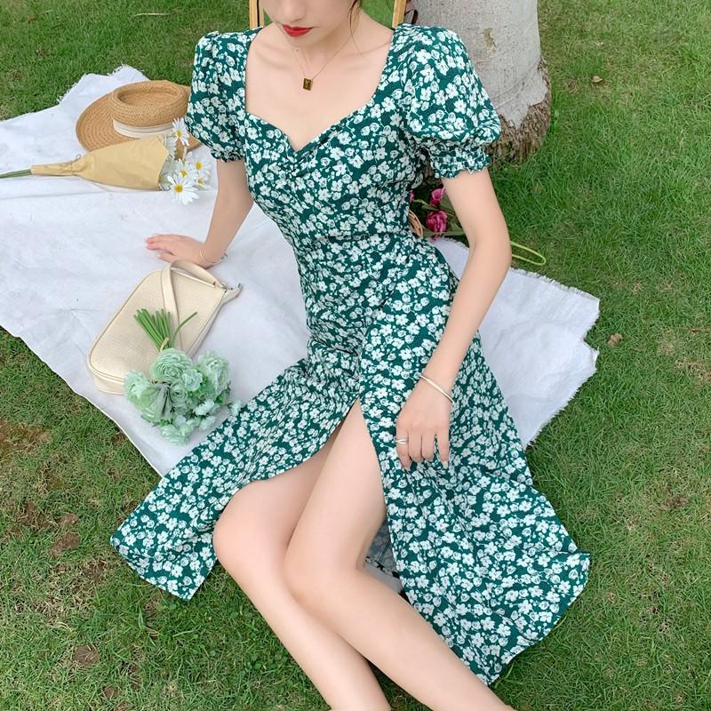 碎花洋裝 過膝長洋裝 顯瘦洋裝 連身裙 法式長裙收腰顯瘦氣質開叉女神範綠色碎花雪紡連衣裙子