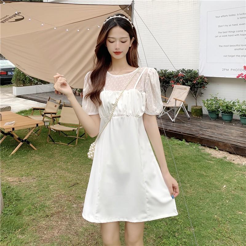 純色溫柔風甜美韓版泡泡袖修身顯瘦假兩件高腰連衣裙