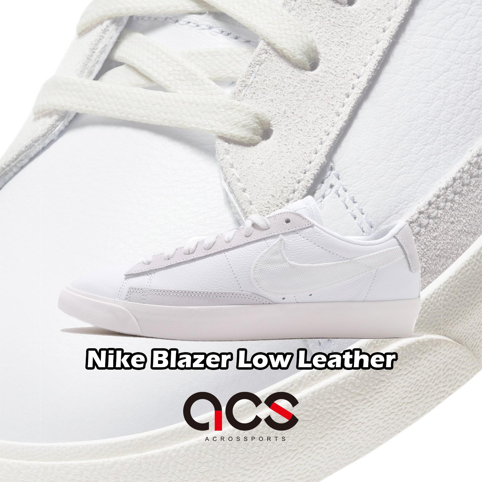 Nike 休閒鞋 Blazer Low Leather 白 灰 皮革 低筒 經典款 【ACS】 CW7585-100