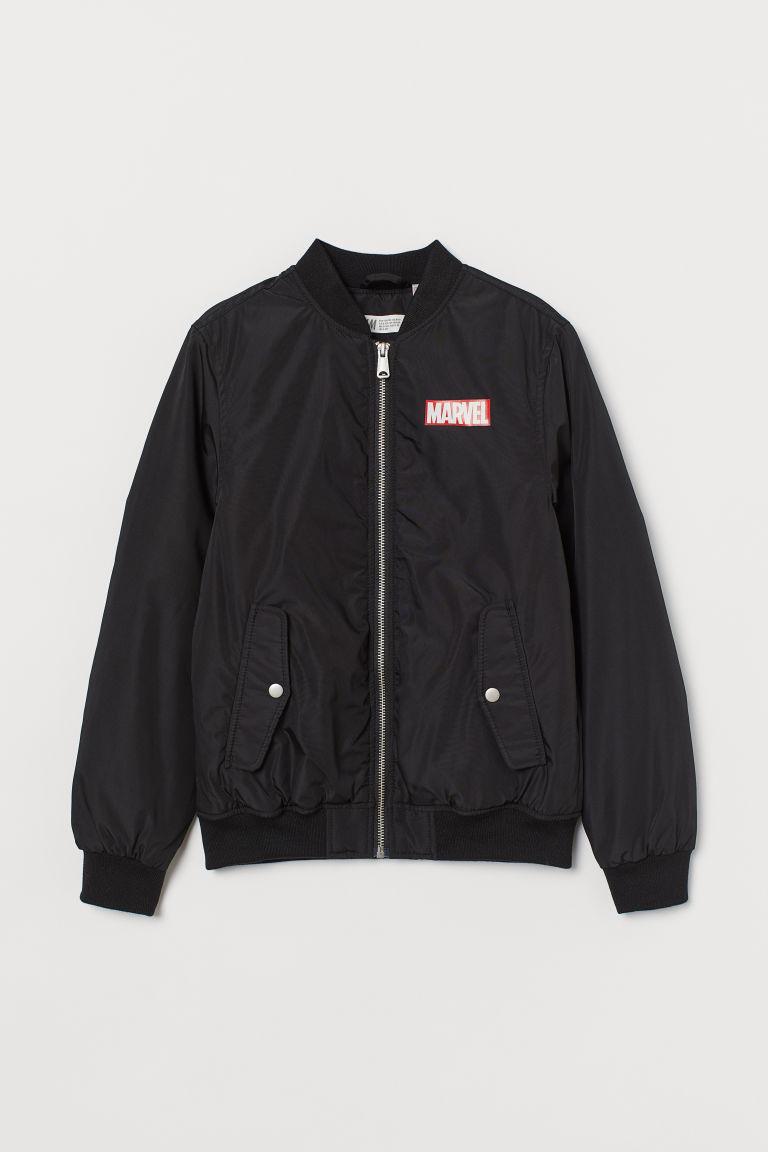 H & M - 鋪棉飛行員外套 - 黑色
