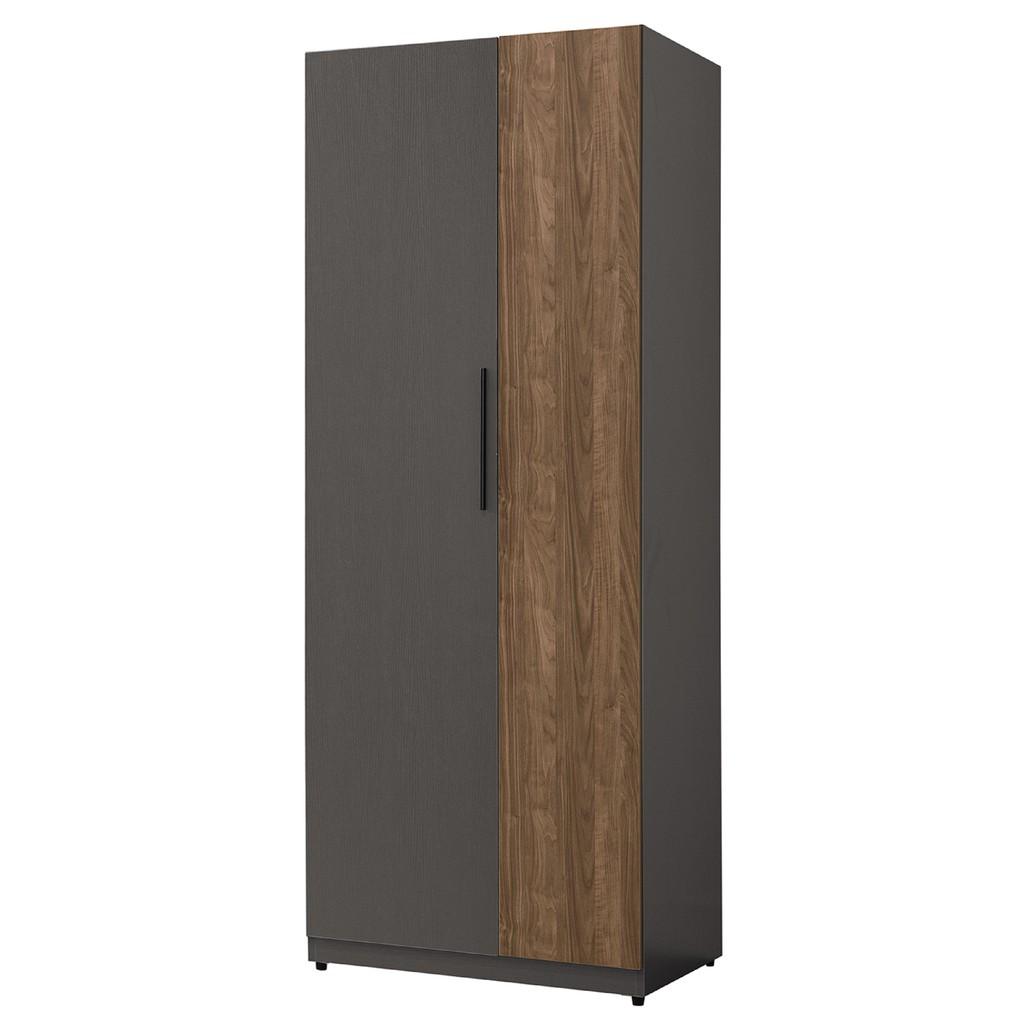 【75cm雙吊衣櫃-B10-04】木心板 推門滑門開門 衣服收納 免組裝【金滿屋】
