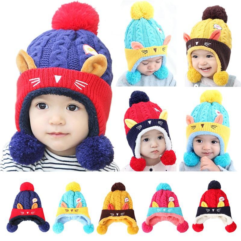寶寶秋冬貓咪加絨針織帽 兒童可愛毛球保暖毛線帽 創意拼色嬰幼兒套頭帽子【IU貝嬰屋】