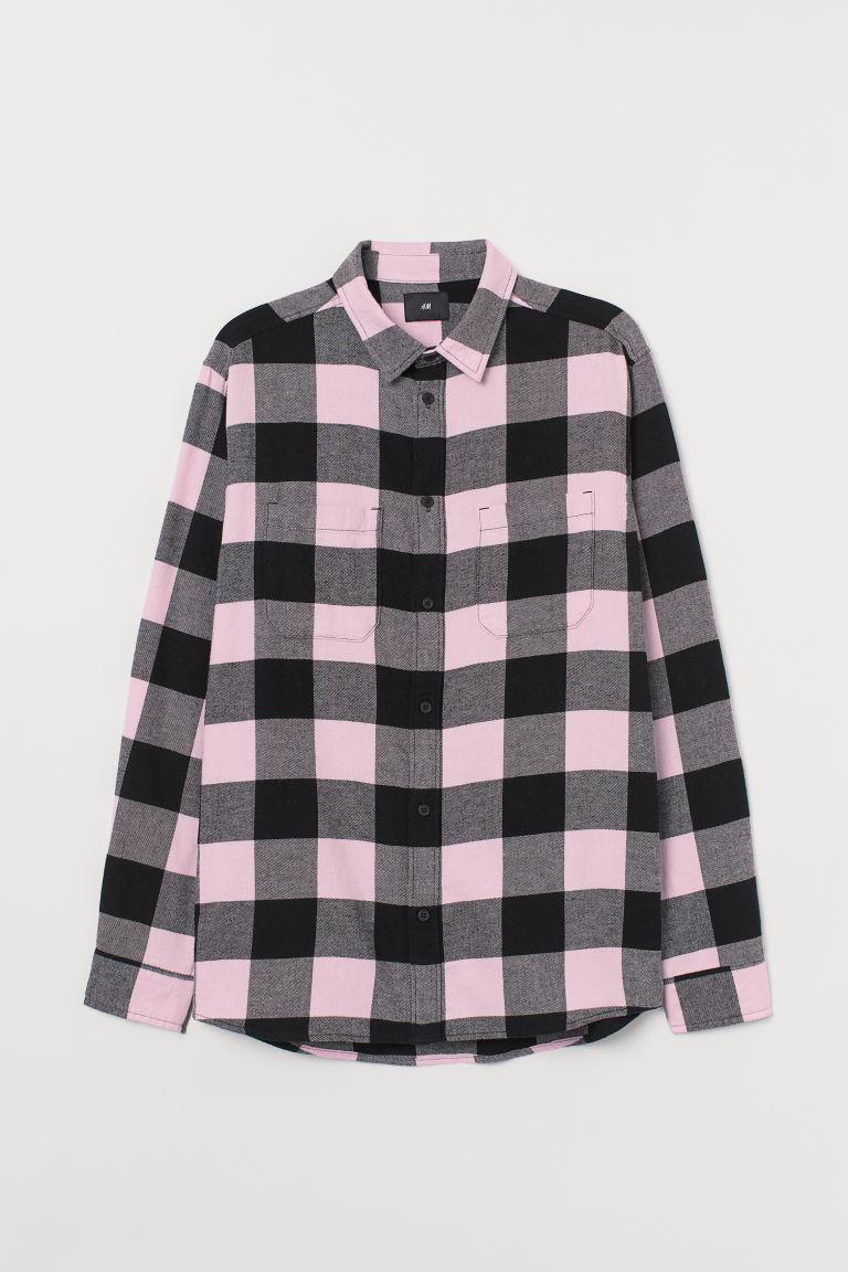 H & M - 棉質法蘭絨襯衫 - 粉紅色