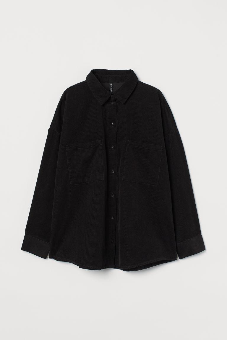 H & M - 加大碼絨布襯衫 - 黑色