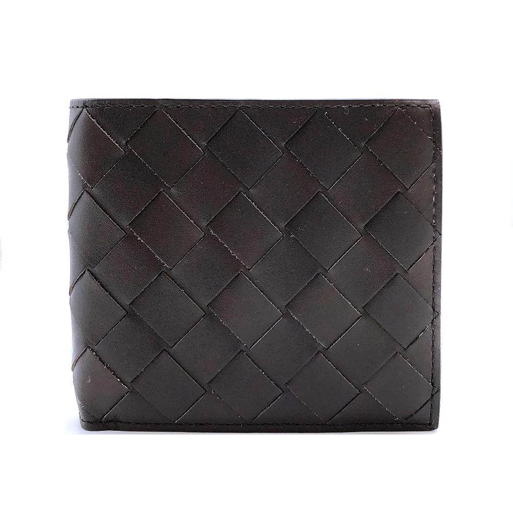 BOTTEGA VENETA 新款編織皮革對開八卡男短夾(605721-咖)